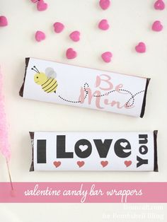 Printable Valentine Candy Bar Wrappers--Give the gift of chocolate this Valentine's Day with these free printable valentine candy bar wrappers.