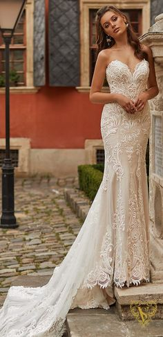 Glamorous strapless lace mermaid wedding dress with sweetheart neckline - Val Stefani Spring 2021 Wedding Dress - Vienna/D8264 - Belle The Magazine #weddingdress #weddingdresses #bridalgown #bridal #bridalgowns #weddinggown #bridetobe #weddings #bride #dreamdress #bridalcollection #bridaldress #dress See more gorgeous bridal gowns by clicking on the photo