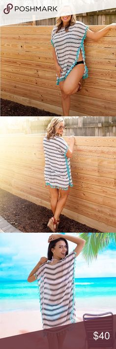 Striped Boho Swim Cover Tunic Dress Gorgeous swim coverup. Striped with teal tassels and flowy fabric for comfort and style. Perfect for vacations, beach days, or by the pool. Looks great on all body types! Swim Coverups