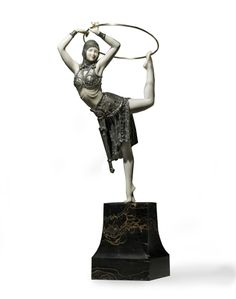 DEMETRE H. CHIPARUS (1886-1947) | 'RING DANCER' A PATINATED BRONZE AND IVORY FIGURE, CIRCA 1928