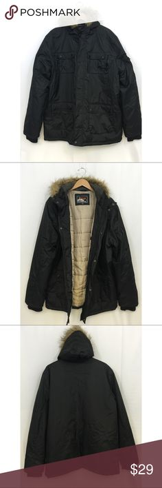 32 Below Never Frozen Hooded Faux Fur Parka Preowned.  32 Below Never Frozen Faux Fur Hooded Parka Jacket Size - XXL Color - Black Attached hood with faux fur trim Zipper front with snap-close storm flap.  Note:  One zipper front snap close not functional as shown in last pic. 2 front double snap hand pockets with 2 smaller zipper pockets on top 2 single snap chest pockets with 1 smaller zipper pocket on top Interior pocket  Polyester 32 Below Jackets & Coats