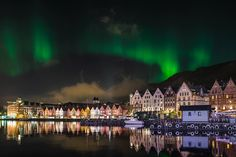 Bergen Norway with Northern Lights