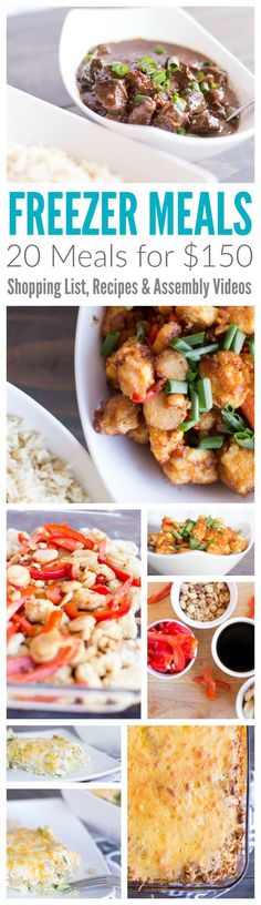 Freezer Meals! 20 Dinner Recipe Plans for Under $150! Simple Recipes for Family Dinner Night that can save you time and money! Find More Freezer Meals Here --> http://www.passionforsavings.com/freezer-meals/
