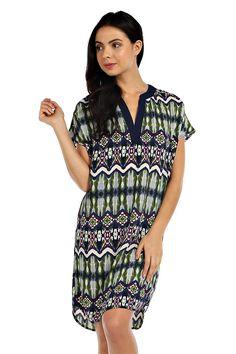 IKAT PRINT CHIFFON SHIFT DRESS- Green