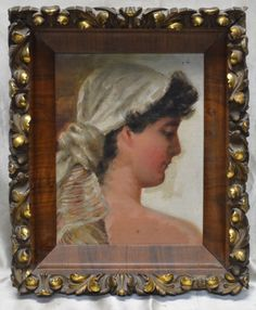 Vintage Woman Profile Portrait Oil Painting on Canvas Panel in Antique Frame  #Realism