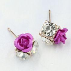 Ceramic Roses Diamond Earring