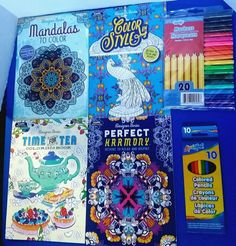 #AdultColoring Book Bundle 4 #AdultColoringBooks 1 Pack #ColoredPencils +1 Marker 20pc Set NEW