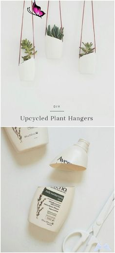 20 Cheap And Easy DIY Hanging Planters That Add Beautiful Style To Any Room Upcycled Plastic Bottle Hanging Planters<br> During the spring and summer months, I love hanging plants on my porch. It just gives it such a beautiful look and it's a great way to keep my more sensitive plants where I can Upcycled Crafts, Upcycled Home Decor, Diy And Crafts, Recycled Decor, Diy Crafts Cheap, Diy Upcycling Projects, Diy Projects Recycled, Upcycle Home, Beach Crafts