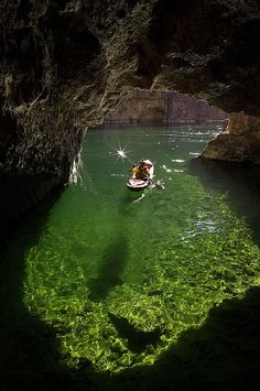 Kayaking in Emerald Cave, Colorado River in Black Canyon, Arizona by Kerrick James Photography