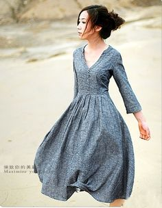 Charming, free-flowing gray dress by xiaolizi on Etsy <> (gray, color, dress, clothes) Pretty Outfits, Pretty Dresses, Beautiful Outfits, Cute Outfits, Look Fashion, Womens Fashion, Dress Fashion, Fashion Belts, Nail Fashion