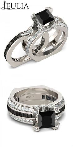 Fabulous Two in one Princess Cut Black Diamond Rhodium Plated Sterling Silver Womens Wedding Ring Set Engagement Ring Jewelry Sales