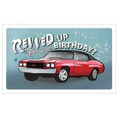 """Single Card - Birthday (Muscle Car) - (Inside - Because everyone else sure is! So fuel up and start your engines, it's time for a real celebration!) Choose from 36 cards across all categories and mix your own pack for the cards you need over the coming months. Minimum of 6 cards per order. Each card comes with a white envelope. (7"""" x 4-1/4"""") (PN XA07) $0.89 CAD  #BirthdayCard"""