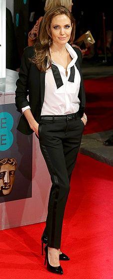 Angelina Jolie kills it in a Saint Laurent tux at the 2014 BAFTA Awards