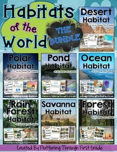 Habitats of the World in one BIG BUNDLE! Explore the Desert, Polar Regions, Rainforest, Savanna, Pond, Ocean and the Forest habitats.We've bundled all our Habitat Units together into 1 BIG BUNDLE! Click any unit below to see more details about each one:Desert Habitat for the Common Core ClassroomPolar Habitat for the Common Core ClassroomPond Habitat for the Common Core ClassroomRainforest Habitat for the Common Core ClassroomSavanna (Grasslands) Habitat for the Common Core ClassroomOcean…