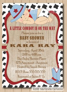 little cowboy baby shower invitation baby cowboy first birthday printable red blue