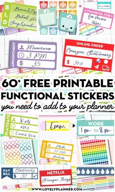More than 45 FREE Printable Functional Planner Stickers to decorate your planner or bullet journal and get more organized! More than 45 FREE Printable Functional Planner Stickers to decorate your planner or bullet journal and get more organized! To Do Planner, Mini Happy Planner, Passion Planner, Organized Planner, Planner Ideas, School Planner, Project Planner, Teacher Planner Free, Free Planner