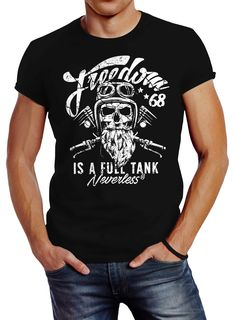Neverless Herren T-Shirt Biker Motorrad Motiv Freedom is a Full Tank Skull Totenkopf Slim Fit Biker T-shirts, Tee Shirt Homme, Tattoo T Shirts, Herren T Shirt, Slim Fit, Tshirts Online, Printed Shirts, Skull, Fitness