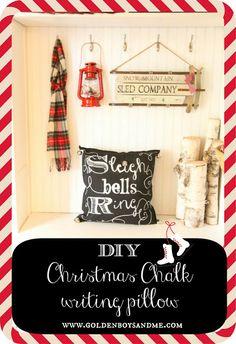 DIY christmas chalkboard writing sleigh bells ring pillow.  www.goldenboysandme.com