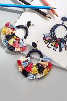 tassel earrings stud tassel silk earrings by lulaSay hello to your new favorite accessories! Get off your first purchase.Earrings Hoop & Tassel Resin botanical Jewelry by RednArtAccessories That Make The Outfit Tassel Jewelry, Textile Jewelry, Fabric Jewelry, Diy Jewelry, Beaded Jewelry, Jewelry Design, Jewelry Making, Flower Jewelry, Jewelry Ideas