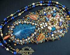 Bead embroidered Pendant necklace Beadwork Ooak seed beaded jewelry swarovski rivoli
