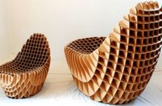 "Corrugated cardboard ""Chick-n-Egg"" chair from the Responsive Design Studio www.de/products/chick-n-egg-chair/ Cardboard Chair, Cardboard Design, Cardboard Furniture, Cardboard Crafts, Cardboard Playhouse, Origami Furniture, Find Furniture, Furniture Design, Ottoman Furniture"