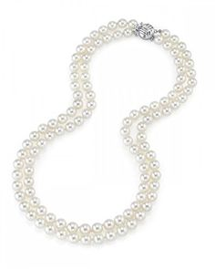 14K Gold 8-9mm Double Strand White Freshwater Cultured Pearl Necklace, 18-19' Length, Women's, Size: 18