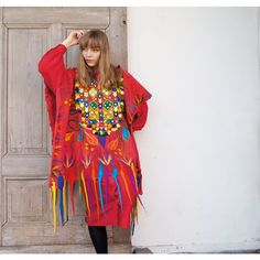 Unique felted red poncho, colorful Bohemian fashion, felt poncho, nuno... (563 PLN) ❤ liked on Polyvore featuring outerwear, poncho cape, vintage poncho, red cape, poncho cape coat and red cape coat
