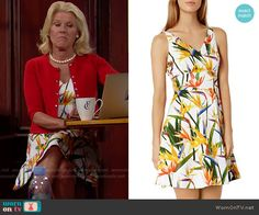 Pam's bird of paradise print dress on The Bold and the Beautiful.  Outfit Details: https://wornontv.net/59178/ #TheBoldandtheBeautiful