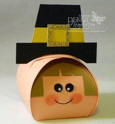 Stampin' Up! Curvy Keepsake Box Die Pilgrim for Thanksgiving. Debbie Henderson, Debbie's Designs.