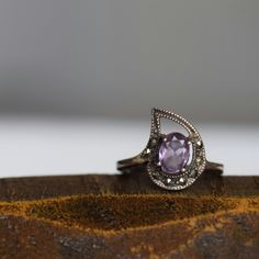 Purple Gemstone and Hematite Vintage 925 Silver Ring, US Size 5.5, Used by OurStoneCollection on Etsy https://www.etsy.com/listing/285573093/purple-gemstone-and-hematite-vintage-925