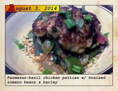 Blue Apron chicken patties Romano beans and barely