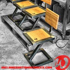 Tire Furniture, Welded Furniture, Garage Furniture, Industrial Design Furniture, Steel Furniture, Recycled Furniture, Woodworking Furniture, Home Decor Furniture, Metal And Wood Bench