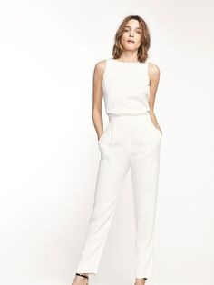 autumn spring summer 2017 women s white jumpsuit with bow detail at massimo dutti for