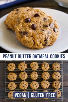 These vegan peanut butter oatmeal cookies are the best healthy dessert! They have no gluten or dairy, and they're so rich and flavorful. Everyone loves these cookies!