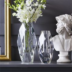 Cut Glass Vase, Clear Glass Vases, Crystal Vase, Crystal Decor, Faceted Glass, Clear Crystal, Faceted Crystal, Crystal Beads, Vase Centerpieces