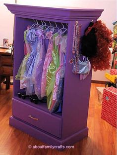 Transform an old dresser into a dress-up station.
