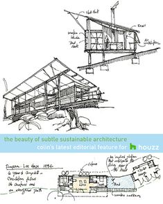 The Beauty of Subtle Sustainable Architecture: See how 4 earth-friendly de. - The Beauty of Subtle Sustainable Architecture: See how 4 earth-friendly design approaches fin - Architecture Concept Diagram, Facade Architecture, Ancient Architecture, Sustainable Architecture, Japanese Architecture, Architectural Engineering, Architectural Drawings, Eco Cabin, Green Facade