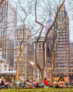 Beautiful spring nights in Bryant Park NYC