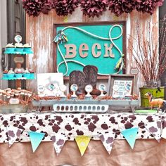 Turquoise Cowboy Prairie Barn theme. Photo: ablissfulnest.com. Meghily's Party in Style 001