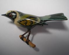 Takahashi  Gold Winged Warbler Vintage   Hand Carved and  Hand Painted