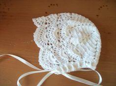 A very popular scalloped baby bonnet