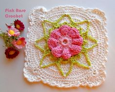 ROSA ROSE UNCINETTO /: Manipolare POT quadrato con fiore rosso