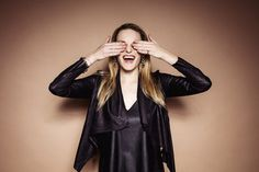 Laughing blond woman covering eyes with her hands - Buy this stock photo and explore similar images at Adobe Stock Body Reference Drawing, Pantone, Hands, Poses, Stock Photos, Laughing, Sleeves, Adobe, Palette