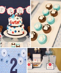 Puppy Paw-ty.    Great idea for Jaxon.   I LIKE IT ~ ROOKIE   See KarasPartyIdeas.com for more ideas and a step by step guide & resources to create a cute pup party for your 2-legged little one.