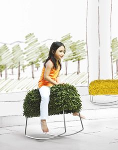 Harry Rocking Stool Designed by Kenneth Cobonpue, the Harry rocking stool features microfiber fabric strips on a stainless steel rocking base. Wicker Furniture, Kids Furniture, Furniture Design, Toy Rooms, Modern Kids, Love Design, Kid Spaces, Kids Playing, Kids Toys