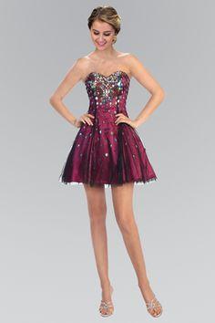 Elizabeth K - Sequined Sweetheart Tulle A-Line Dress GS1023 #prom
