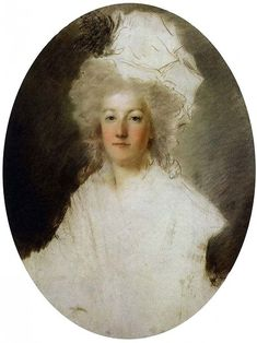 Unfinished portrait of Marie Antoinette, 1792 by Alexandre Kucharski, comissioned by the Queen as a gift for the Marquise de Tourzel, governess to the royal children.  The portrait miraculously survived the 10th August, 1792 revolutionary assault on the Tuileries, suffering only two pike blows.