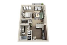 Small Apartment Floor Plans And Small Studio Apartment Floor Plan Studio Apartment Floor Plans, Condo Floor Plans, Studio Floor Plans, Studio Apartment Layout, Studio Layout, Modern Floor Plans, Apartment Plans, One Bedroom Apartment, Apartment Design