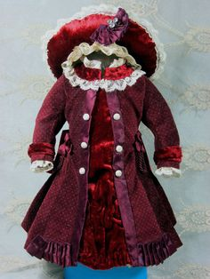 LOVELY ANTIQUE DRESS & HAT FOR A BISQUE FRENCH DOLL