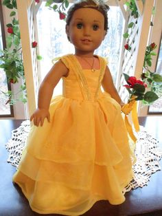 "Beauty and the Beast Yellow Doll Dress Belle Gown to fit your 18"" American Girl Doll by Emmakate0 on Etsy"